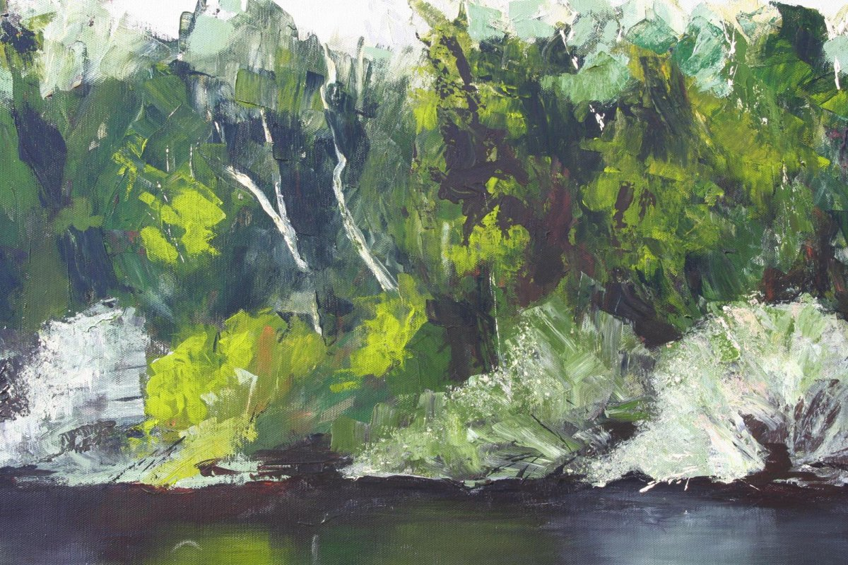 Glenelg River 6, acrylic on canvas, painting for sale for $980 by artist Heather Wood.