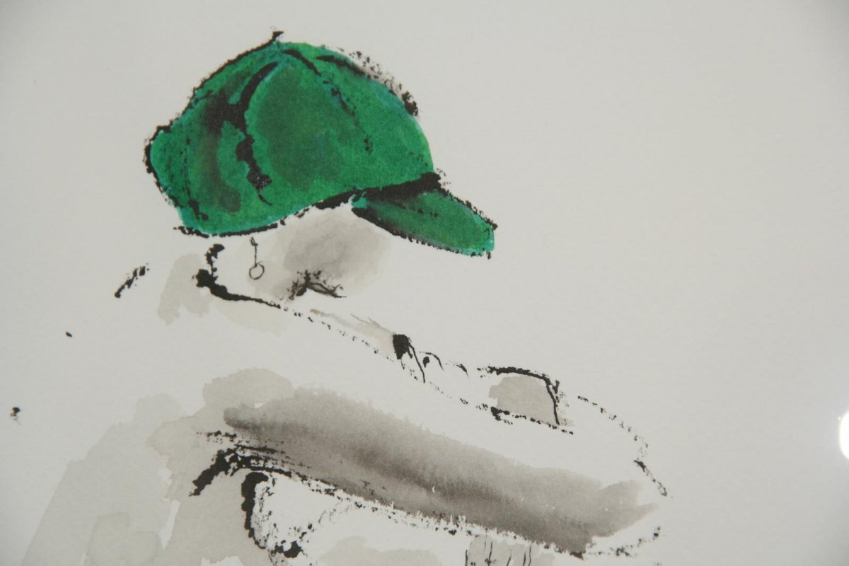 Green Hat, drawing by artist Heather Wood