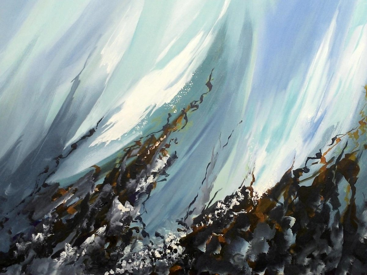 In the Wave 2, painting by artist Heather Wood