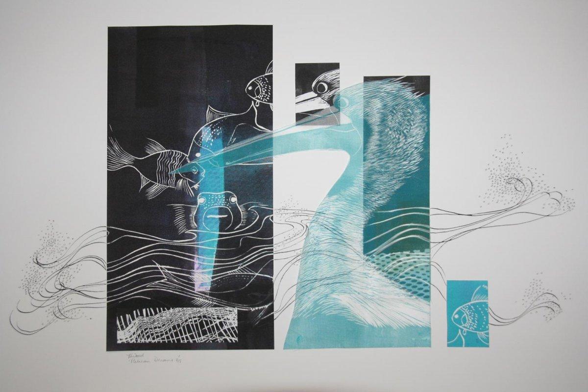 Pelican Dreams, print, linocut by artist Heather Wood