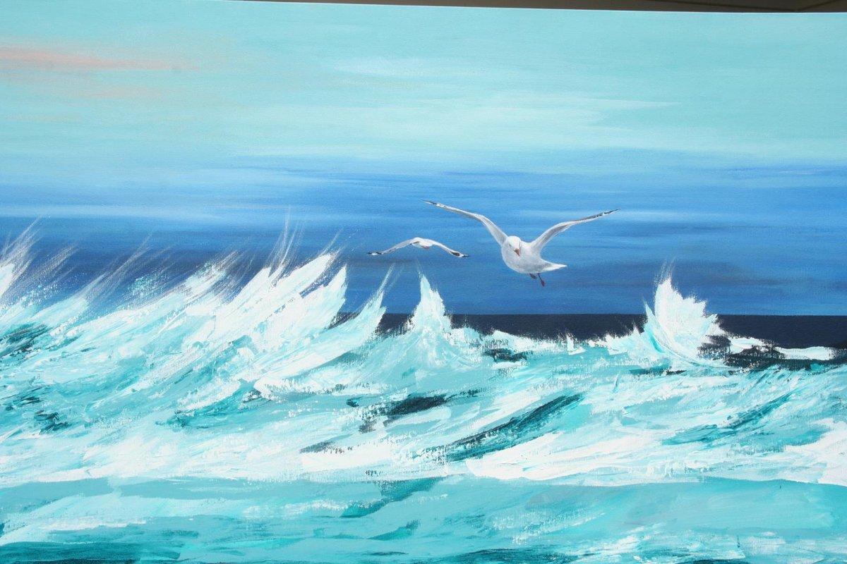 South Beach Port Fairy 1, acrylic on canvas for sale by artist Heather Wood $920