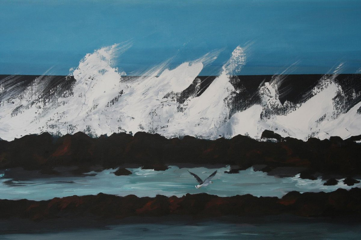 South Beach Port Fairy 2, acrylic on canvas for sale by artist Heather Wood $980
