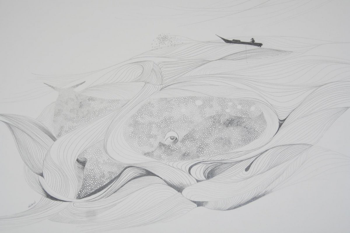 The Fisherman, drawing by artist Heather Wood
