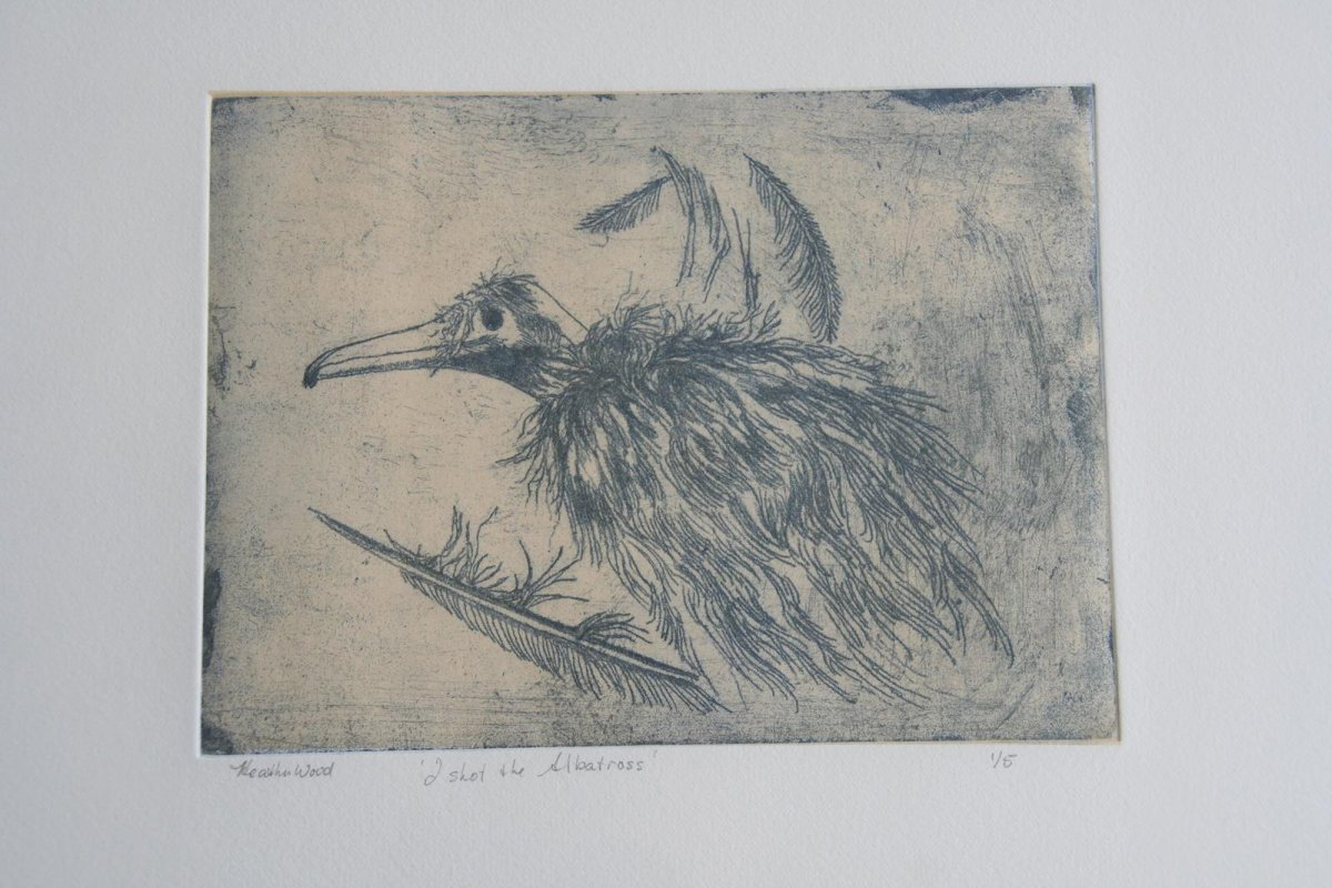I Shot the Albatross, soft ground etching, print by artist Heather Wood