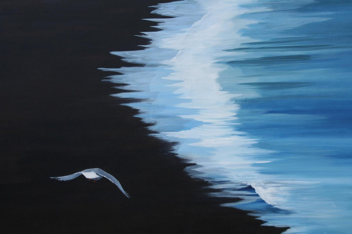 Black Sand Iceland, acrylic on canvas, for sale by artist Heather Wood $980