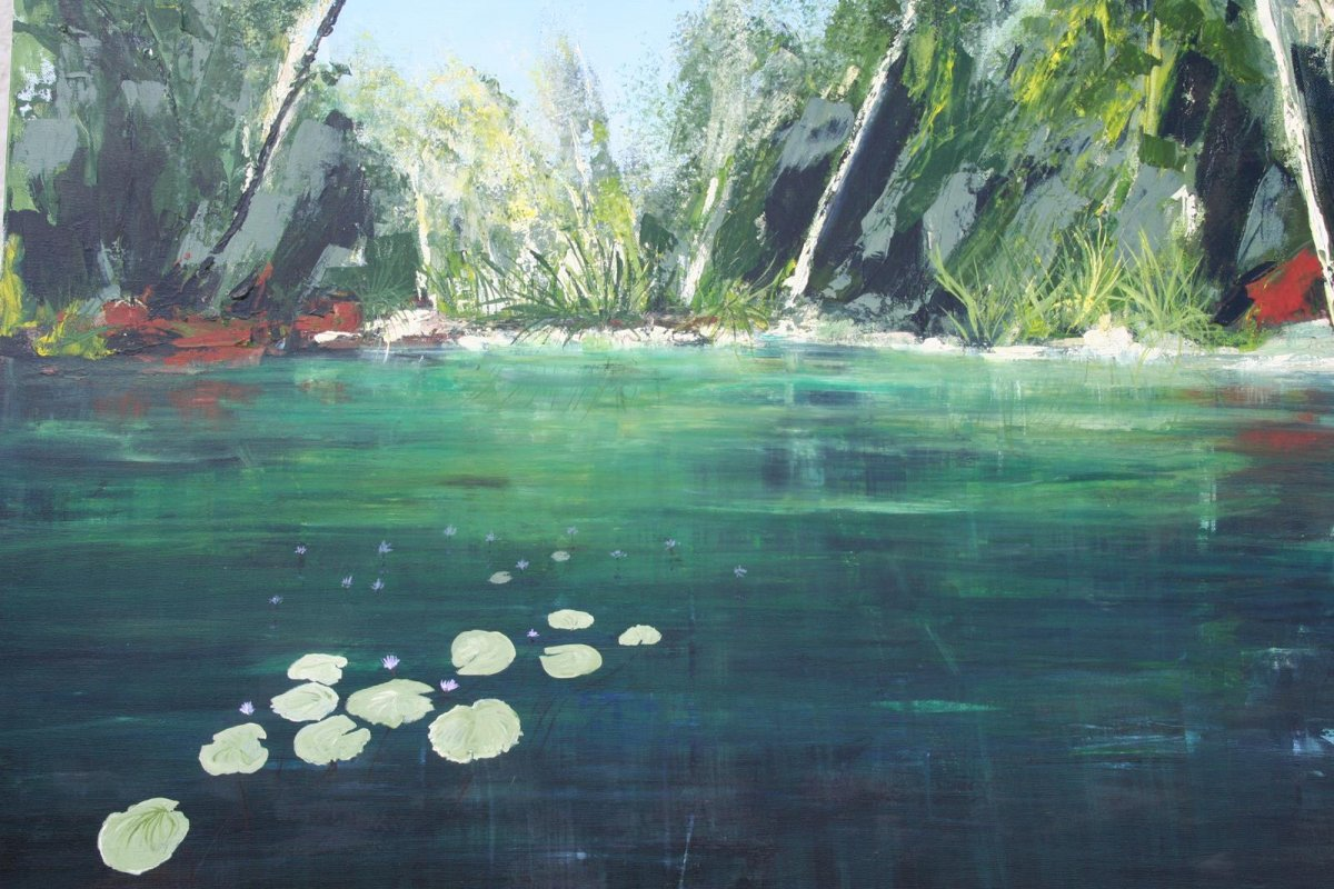 Cool Lagoon QLD, acrylic on canvas, for sale by artist Heather Wood $900