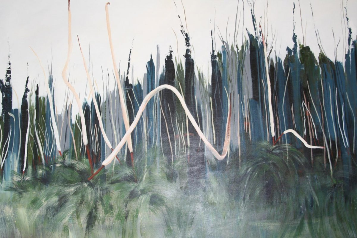Grass Trees After The Fire, painting by artist Heather Wood