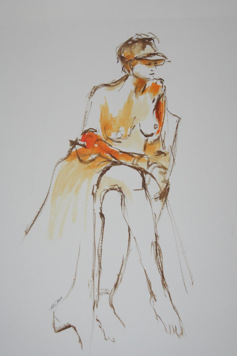 I Like my Hat 1, ink and wash, for sale by artist Heather Wood $450