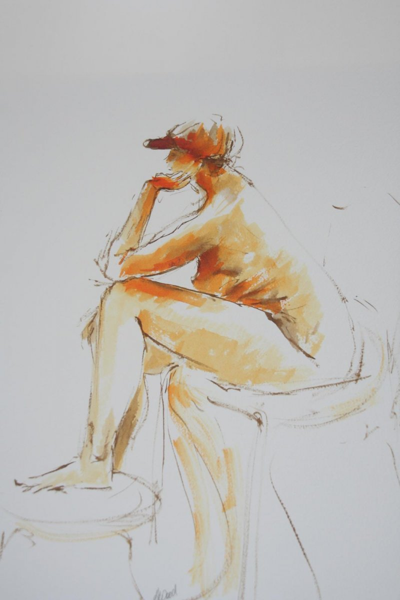 I Like my Hat 2,  ink and wash, for sale by artist Heather Wood $450