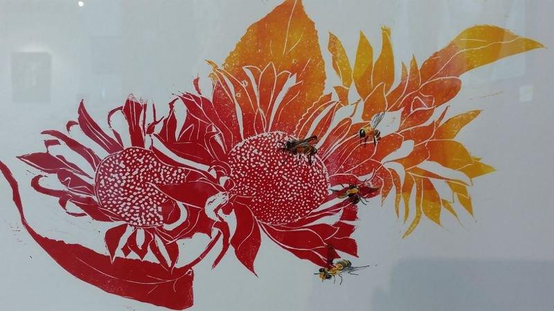 Print 1, linocut by artist Heather Wood
