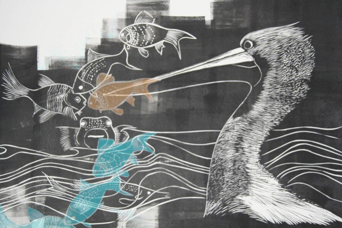 Linocut, print by artist Heather Wood