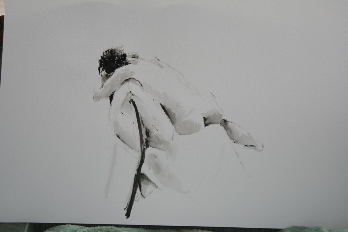 Relaxed, drawing by artist Heather Wood