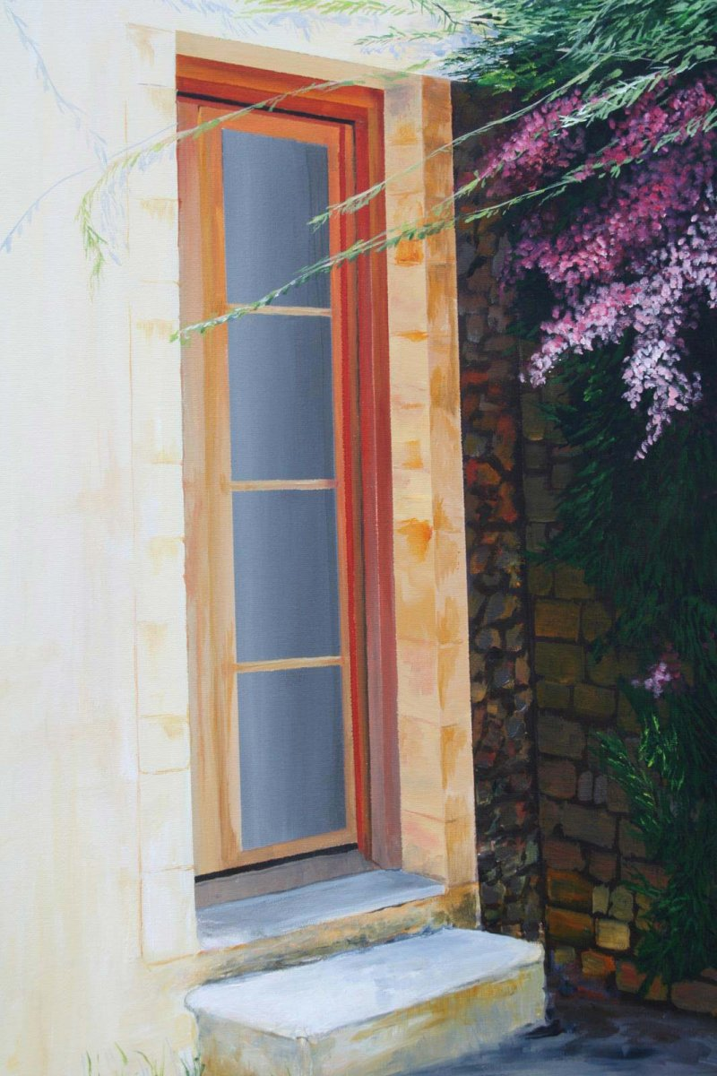 Skopelos Greece, acrylic on canvas for sale by artist Heather Wood $900