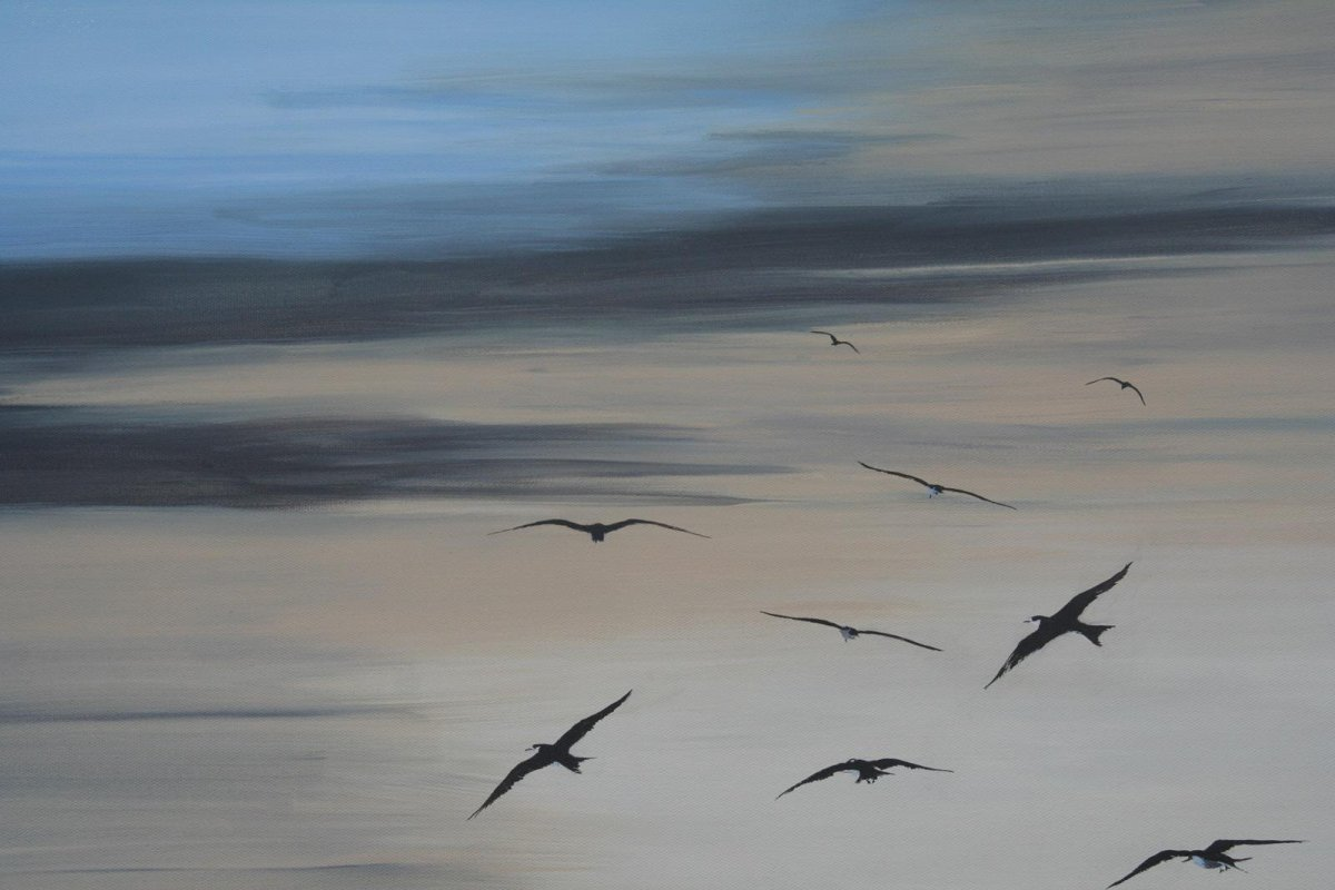 Sooty Terns, painting by artist Heather Wood