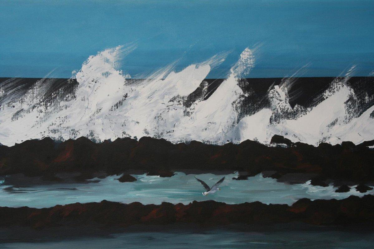 South Beach Port Fairy 2, acrylic on canvas for sale by artist Heather Wood $980