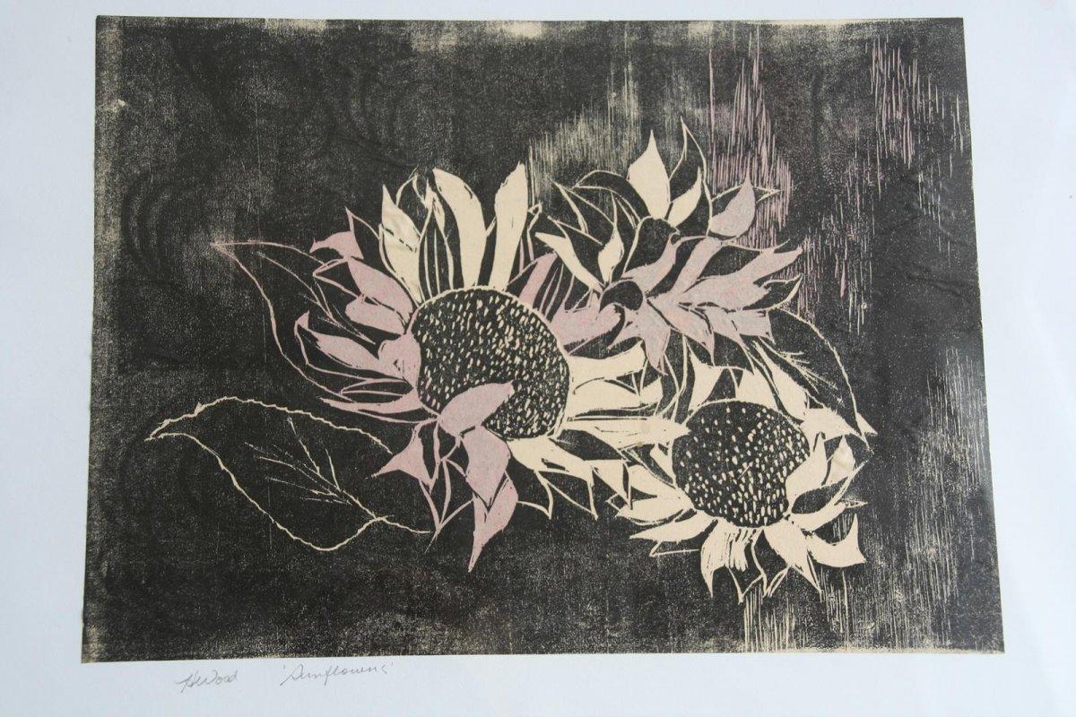 Sunflowers, woodblock printing print by artist Heather Wood
