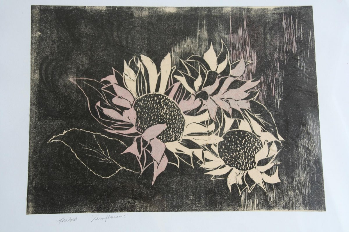 Sunflowers, woodblock printing print by artist Heather Wood